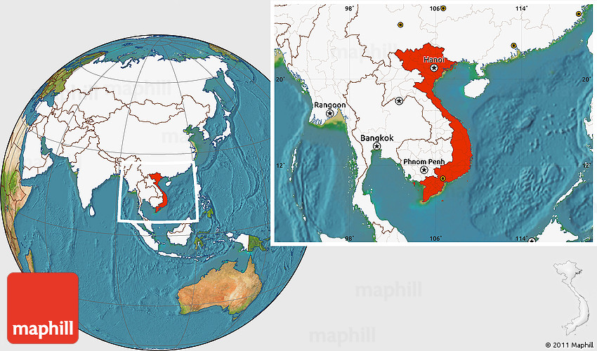 Satellite Location Map of Vietnam highlighted continent