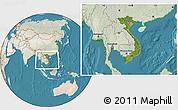 Satellite Location Map of Vietnam, lighten, land only