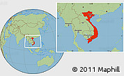 Savanna Style Location Map of Vietnam