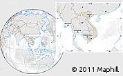 Shaded Relief Location Map of Vietnam, lighten, desaturated