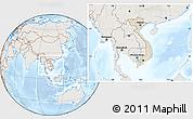 Shaded Relief Location Map of Vietnam, lighten