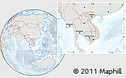 Shaded Relief Location Map of Vietnam, lighten, semi-desaturated