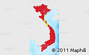 Flag Map of Vietnam, single color outside, bathymetry sea