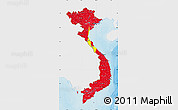 Flag Map of Vietnam, single color outside, shaded relief sea