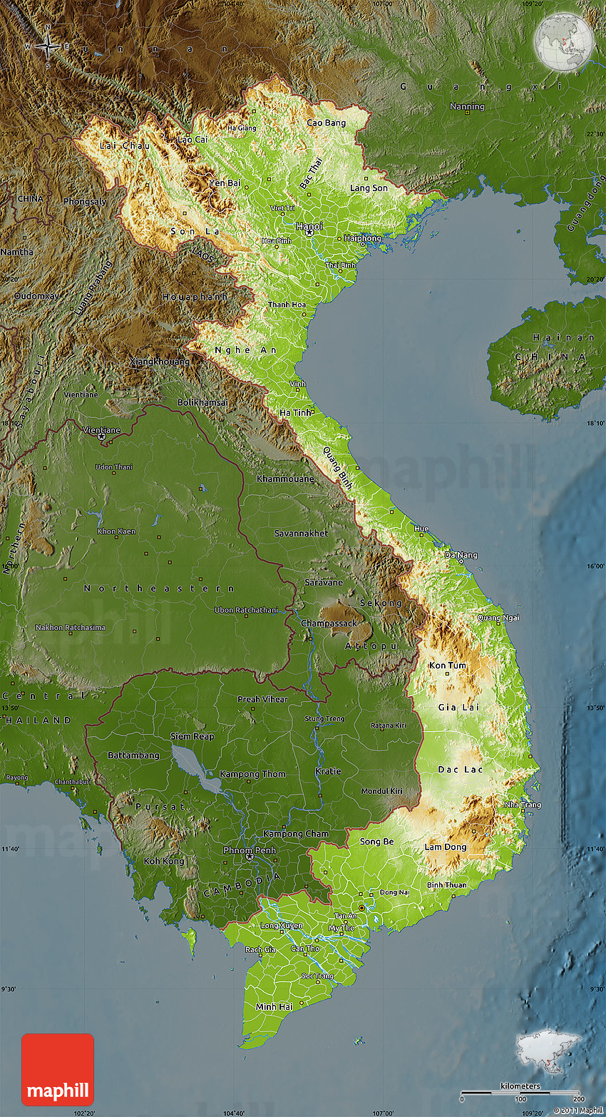 Physical Map Of Vietnam, Darken