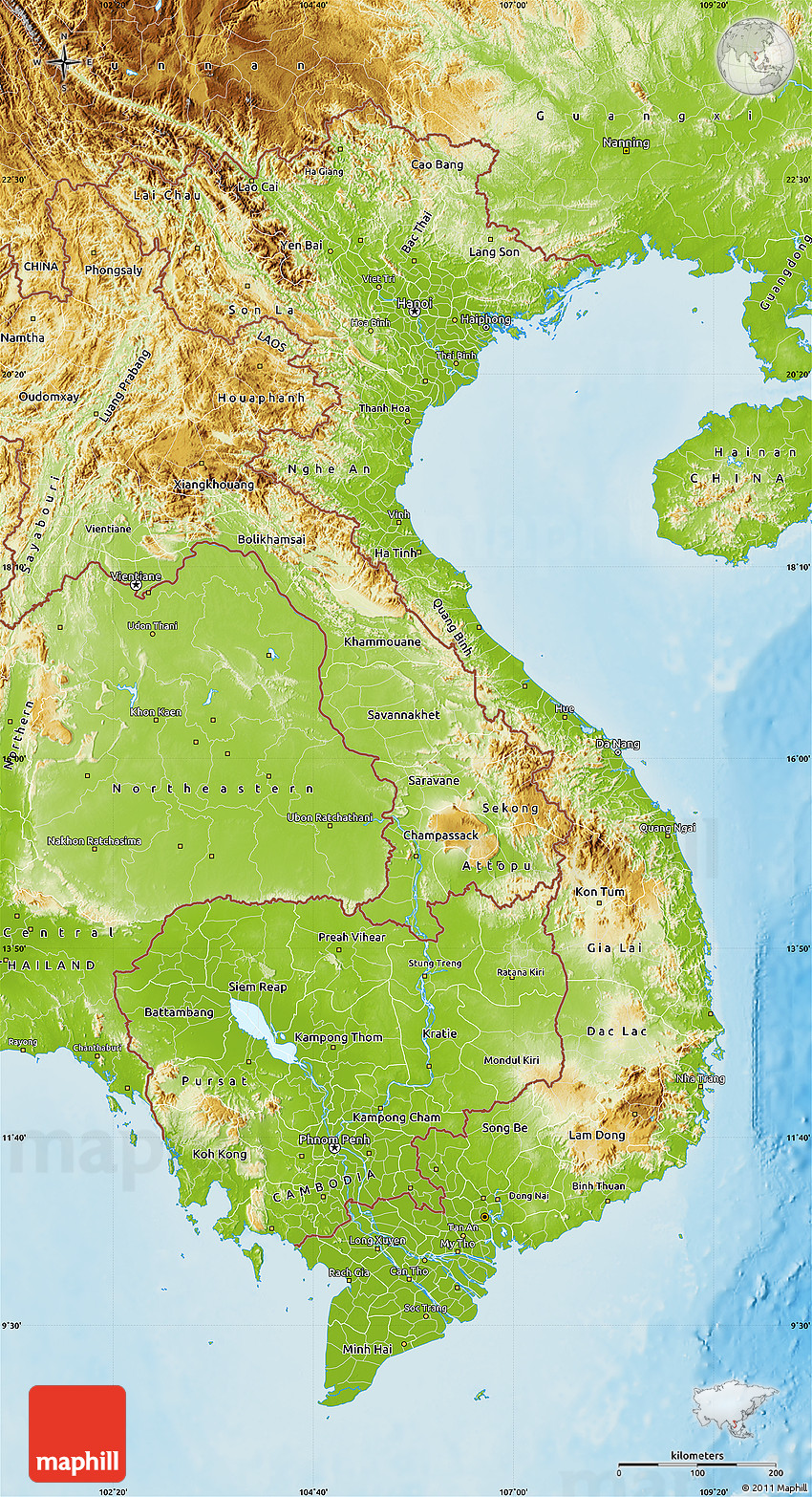 Perfect Physical Map Of Vietnam