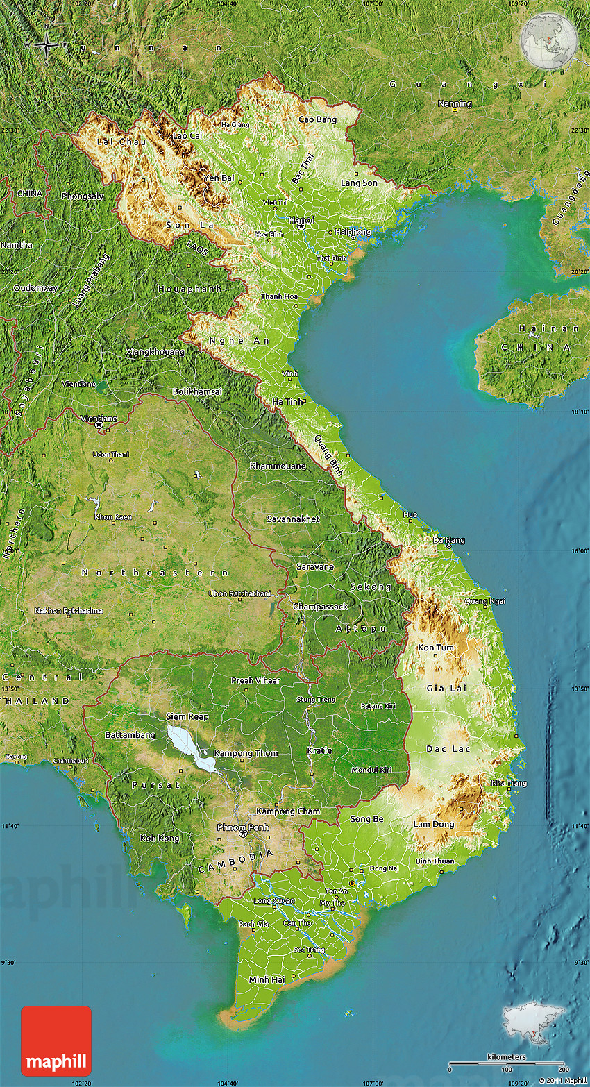Physical map of vietnam satellite outside 2d publicscrutiny Images
