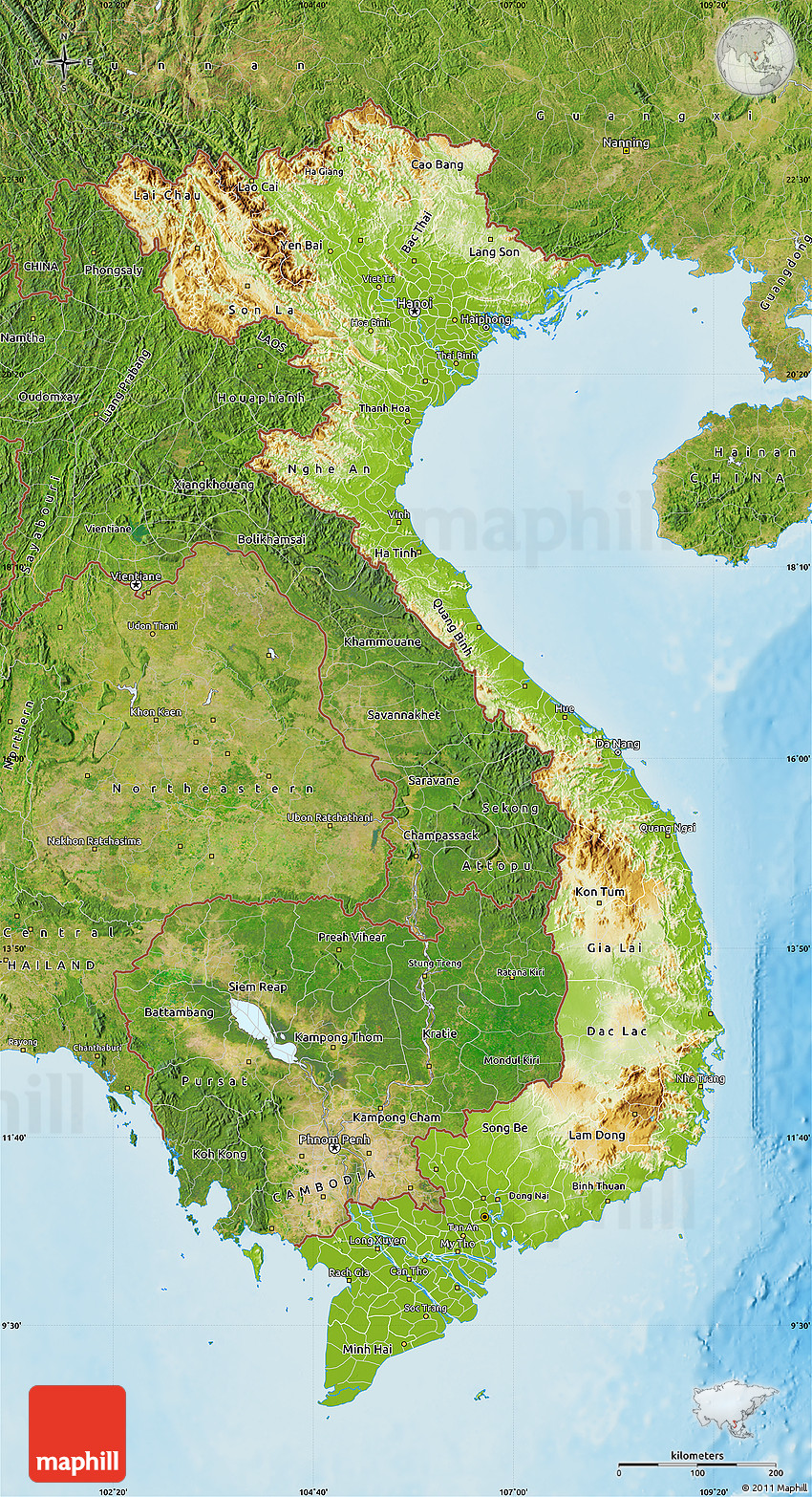 Physical Map Of Vietnam, Satellite Outside, Shaded Relief Sea