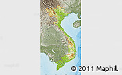 Physical Map of Vietnam, semi-desaturated, land only