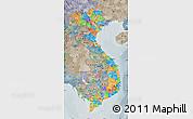 Political Map of Vietnam, semi-desaturated
