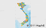 Political Map of Vietnam, single color outside
