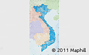 Political Shades Map of Vietnam, lighten