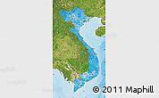 Political Shades Map of Vietnam, satellite outside, bathymetry sea