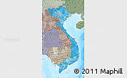 Political Shades Map of Vietnam, semi-desaturated, land only