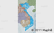Political Shades Map of Vietnam, semi-desaturated