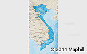 Political Shades Map of Vietnam, shaded relief outside, bathymetry sea