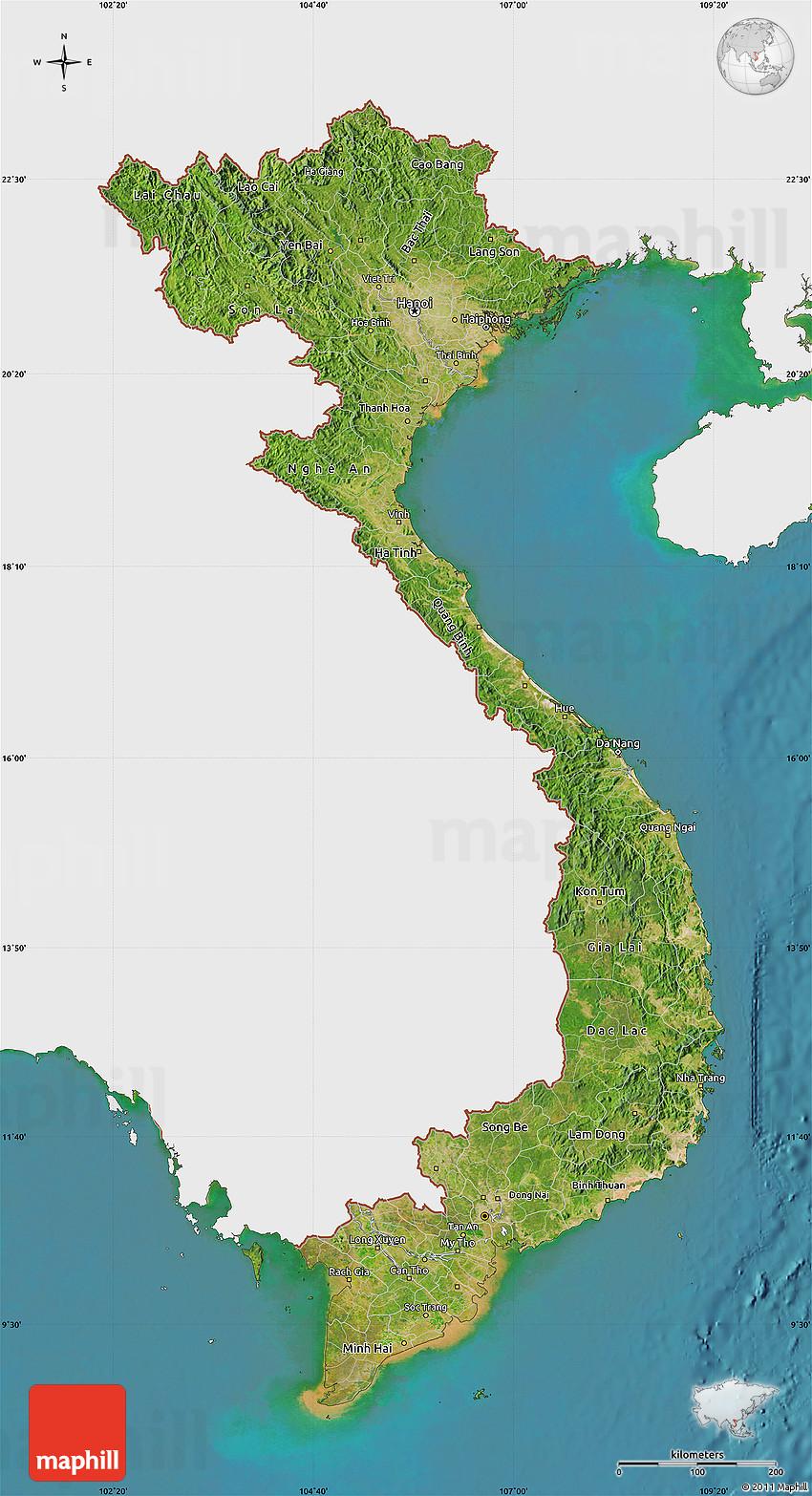 satellite map of vietnam  single color outside