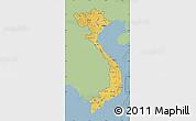Savanna Style Map of Vietnam, single color outside