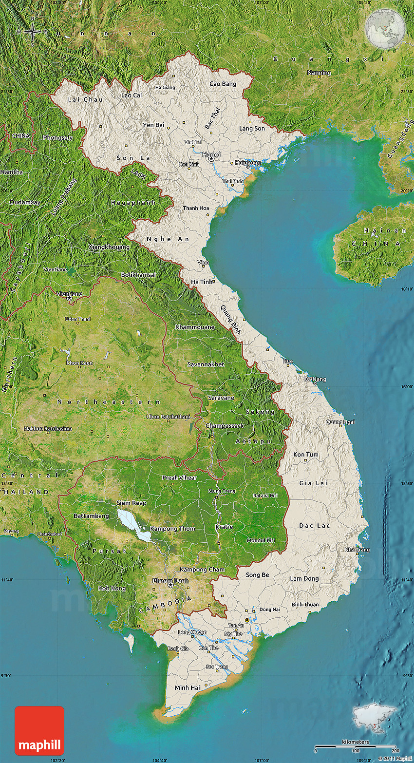 Shaded relief map of vietnam satellite outside 2d publicscrutiny Gallery