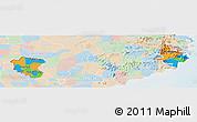 Political Panoramic Map of Ninh Thuan, lighten