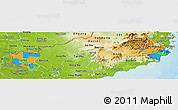 Political Panoramic Map of Ninh Thuan, physical outside