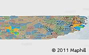 Political Panoramic Map of Ninh Thuan, semi-desaturated