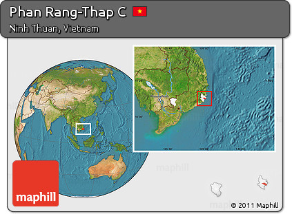 Phan Rang Vietnam Map.Free Satellite Location Map Of Phan Rang Thap C Highlighted Parent