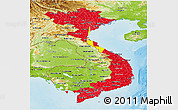 Flag Panoramic Map of Vietnam, physical outside