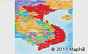 Flag Panoramic Map of Vietnam, political outside