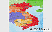Flag Panoramic Map of Vietnam, political shades outside