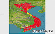 Flag Panoramic Map of Vietnam, satellite outside