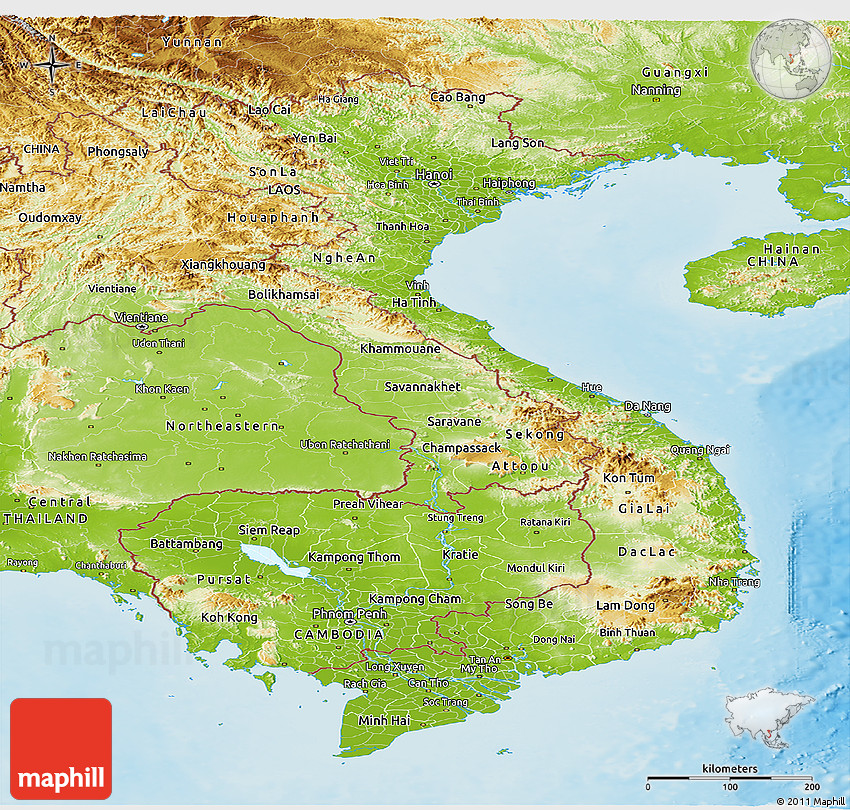 Lovely Physical Panoramic Map Of Vietnam
