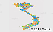 Political Panoramic Map of Vietnam, cropped outside