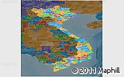 Political Panoramic Map of Vietnam, darken