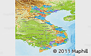Political Panoramic Map of Vietnam, physical outside