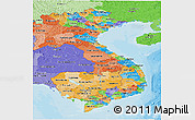 Political Panoramic Map of Vietnam, political shades outside