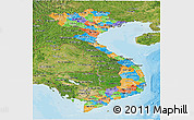 Political Panoramic Map of Vietnam, satellite outside, bathymetry sea