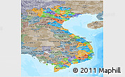 Political Panoramic Map of Vietnam, semi-desaturated, land only