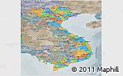 Political Panoramic Map of Vietnam, semi-desaturated