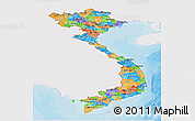 Political Panoramic Map of Vietnam, single color outside