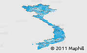 Political Shades Panoramic Map of Vietnam, cropped outside