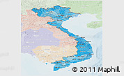 Political Shades Panoramic Map of Vietnam, lighten