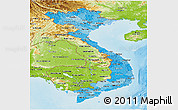 Political Shades Panoramic Map of Vietnam, physical outside