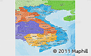Political Shades Panoramic Map of Vietnam