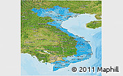 Political Shades Panoramic Map of Vietnam, satellite outside, bathymetry sea