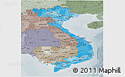 Political Shades Panoramic Map of Vietnam, semi-desaturated