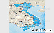 Political Shades Panoramic Map of Vietnam, shaded relief outside, bathymetry sea
