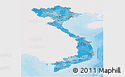 Political Shades Panoramic Map of Vietnam, single color outside