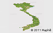 Satellite Panoramic Map of Vietnam, cropped outside