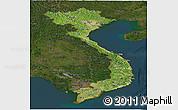 Satellite Panoramic Map of Vietnam, darken